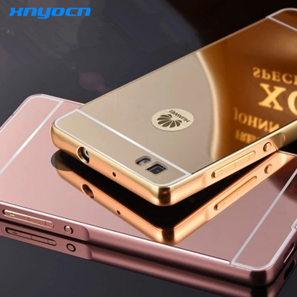 Hot Sale for Huawei P8 Lite Case Luxury Ultrathin Mirror Metal Aluminum+Acrylic Hard Back Cover Phone Bag Accessory