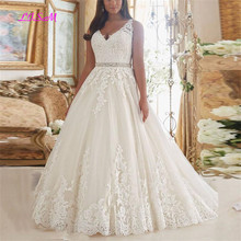 2019 Hot Sale Plus Size Vintage Wedding Dress Sexy V Neck Lace Belt Vestido De Noiva New Arrival A-Line Appliques Bridal Dresses