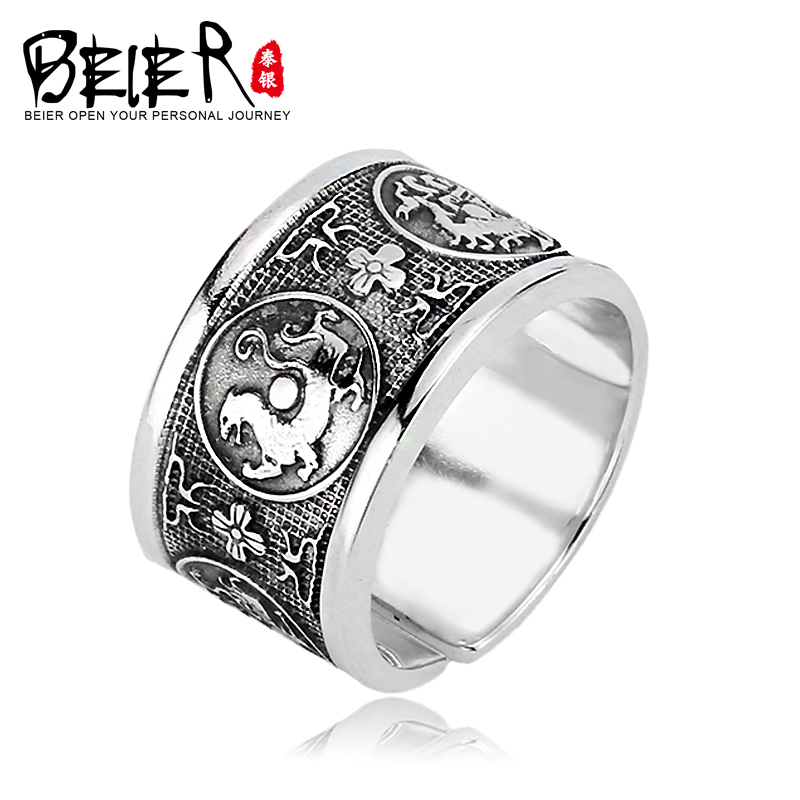 Beier new store 925 silver sterling Nose viking Dragon Mens Ring Gothic Chinese christmas charms jewelry for men ring LR925K003