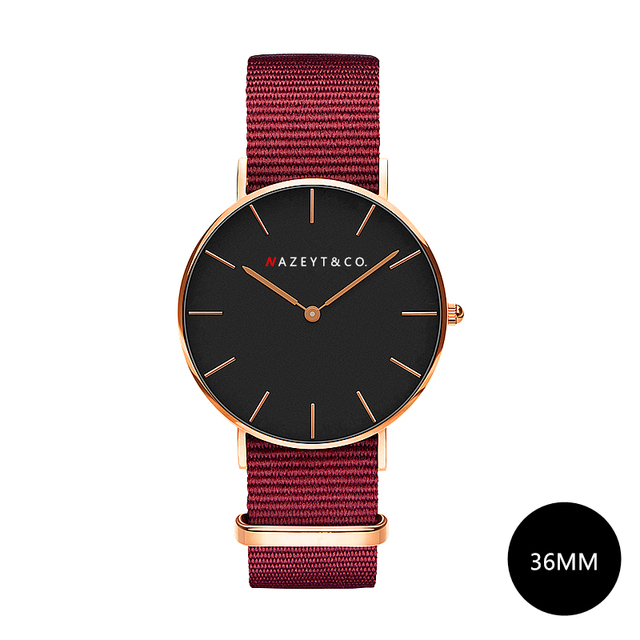 Nazeyt women fashion Ruby red nylon quartz watches 36mm watch promotion gift DW
