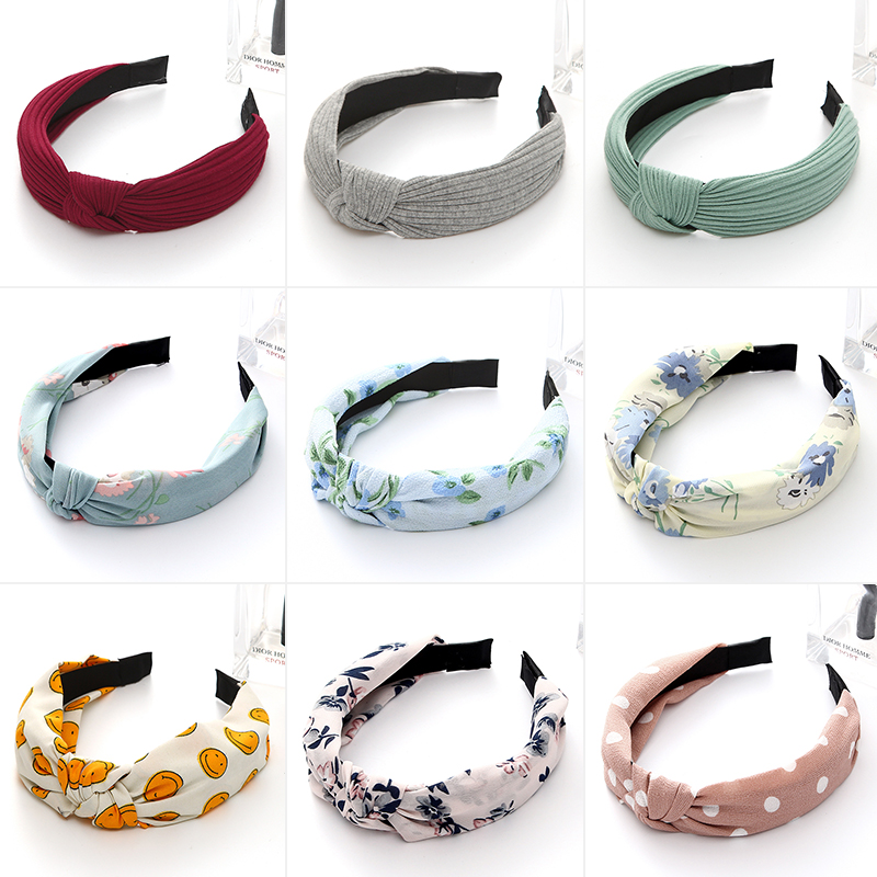 New Top Knot Hairband For Women Girls Hair Head Hoops Bands Accessories Fabric Floral Print Headband HeadWrap Headwear Headdress