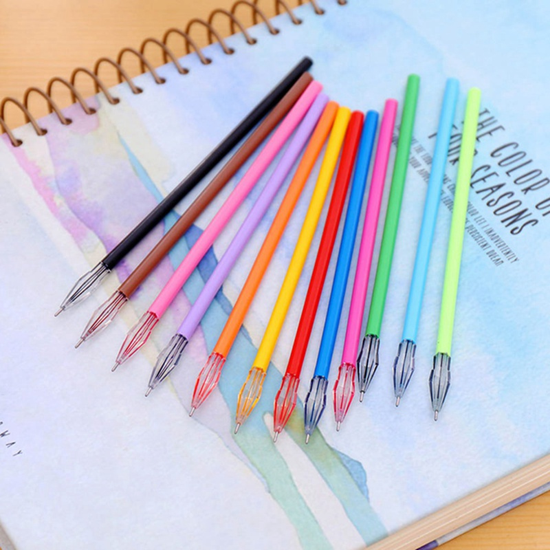 6Pcs/Lot 0.38mm Colorful  Creative Gel Pens Ink Refill School Office Supply Pen Escolar Papelaria Promotional Pen Refill(China)