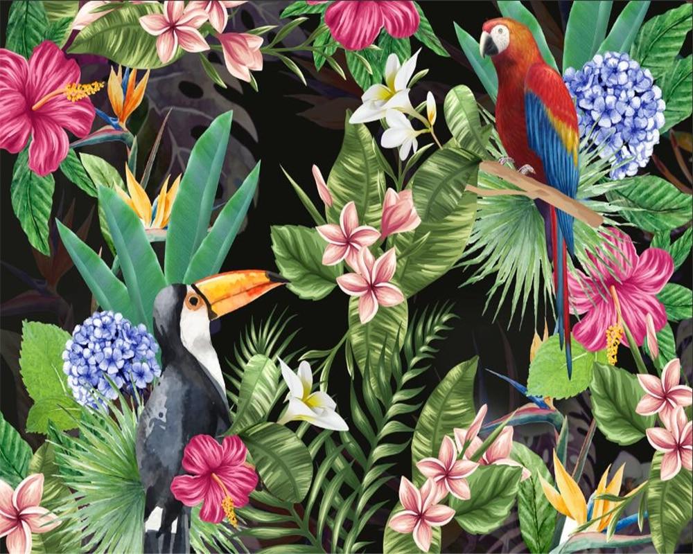 Beibehang Kustom Wallpaper Mural HD Hutan Hujan Tropis Parrot Daun Latar Belakang Dinding 3D Wallpaper Papel