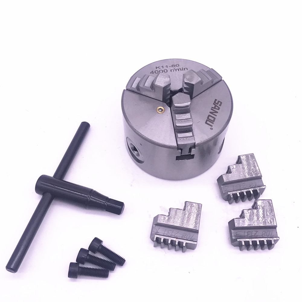 3 inch 3 Jaw K11-80 Mini LATHE Chuck Self-Centering K11 80 80mm with Wrench & Screws Hardened Steel for Drilling Milling Machine new cnc lathe chuck 3 jaw self centering 8 k11 200 200mm three jaws chuck for drilling milling machine with wrench and screws