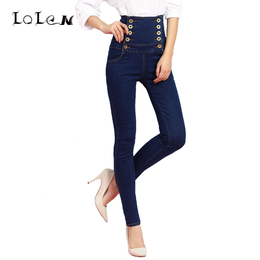 LOLEN New Plus Size Pencil Pants Fashion Slim Double Breasted Stretch Lacing High Waist Jeans for Women