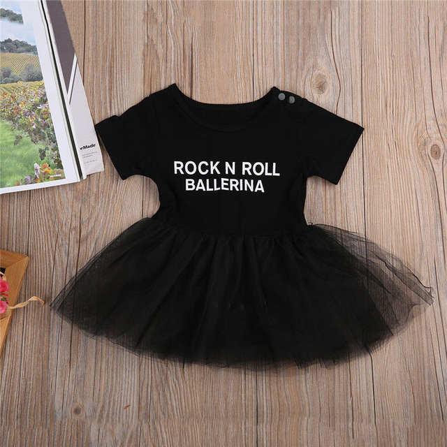 0a67db70532 Online Shop Infant Toddler Newborn Baby Girls Tulle Rock N Roll Romper Dress  Playsuit Short Sleeve Sunsuit Outfits Set 0-3T