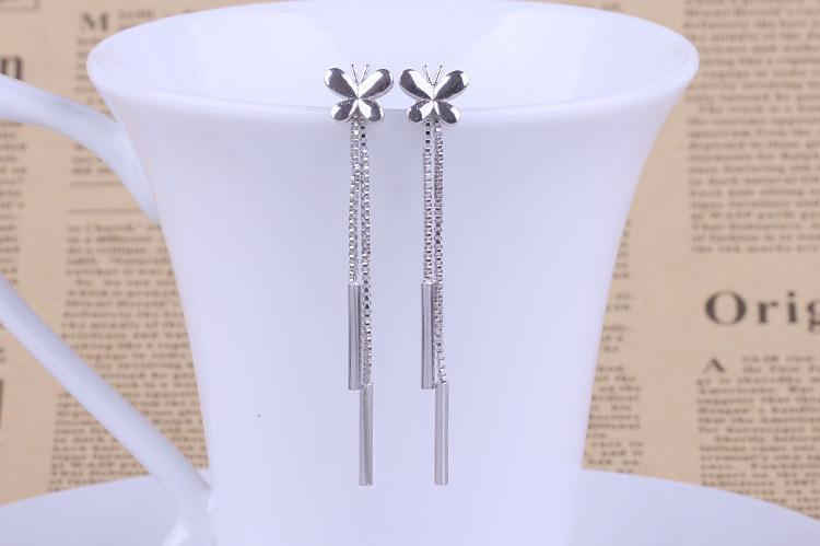 100 925 sterling silver fashion butterfly ladies tassels stud earrings jewelry women Anti allergy Christmas gift drop shipping in Stud Earrings from Jewelry Accessories