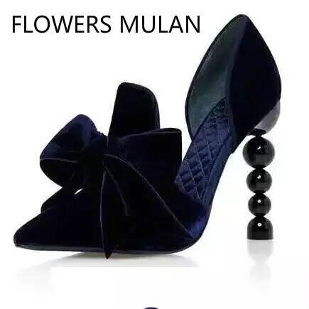 2018 Svonces Piste Chaussures Bowtie Talons Chaussures Bout Pointu Imprimé floral Perle Talons hauts Robe De Mariage Femme Slip-sur pompes Élégant