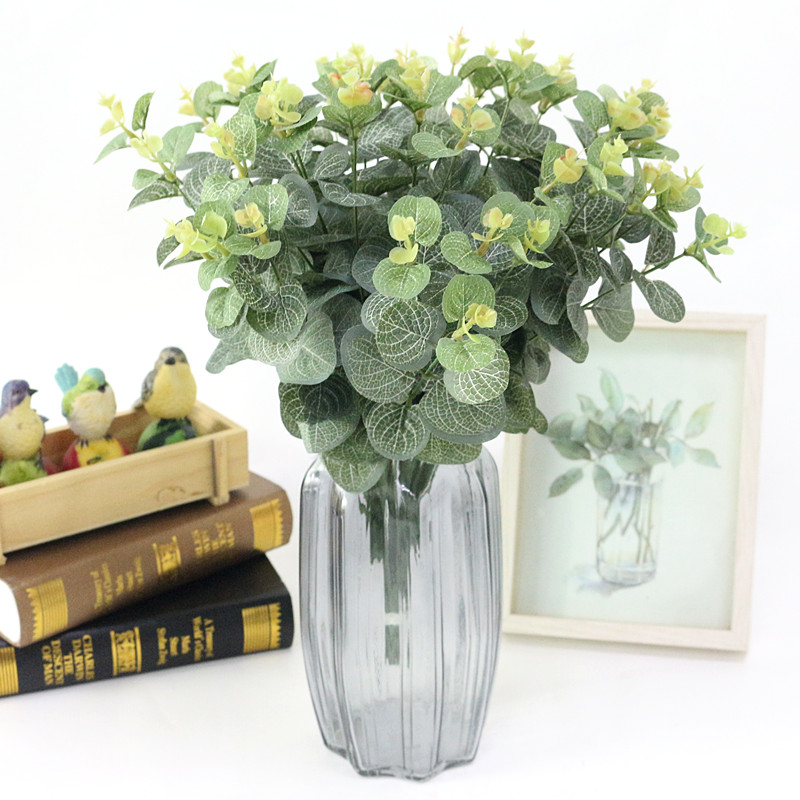 Flone Green Artificial Leaves Large Eucalyptus Leaf Plants Wall Material Decorative Fake Plants For Home Shop Garden Party Decor fake rose flowers
