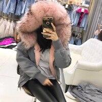 2017 Fashion Luxury Unisex Oryginalna Rex Rabbit Fur Lining Pilot Kurtka Futro Szop Futerkiem Kapturem Parka Płaszcz Darmowa Wysyłka