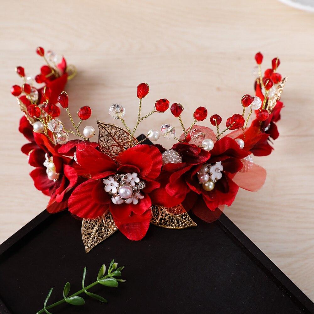 Gorgeous red yarn flower headband crown tiara princess gold color gorgeous red yarn flower headband crown tiara princess gold color hairband hair jewelry bridal wedding party women headpiece new in hair jewelry from izmirmasajfo