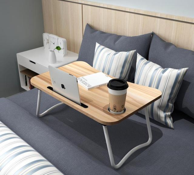Laptop Table Lap Desk Bed Sofa Versatile Foldable Tray Notebook Stand With Slot For Tablets Mobile Phone And Cup