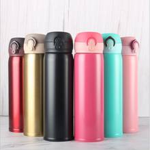 450ml Stainless Steel Double Wall Thermal Cup Travel Mug Water Thermos Bottle Vacuum Cup School Home Tea Coffee Drink Bottle(China)