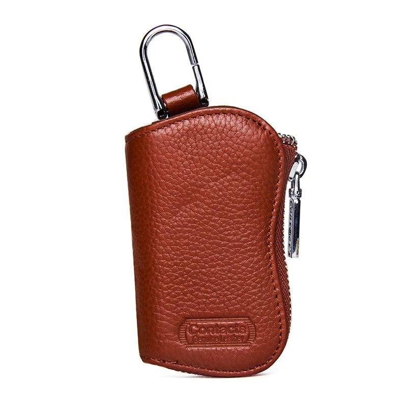 CONTACT'S Cow Leather Keys Wallets For Men Mini Key Holder Women Fashion Key Purse Small Housekeeper Card Key Holders Keychain 3