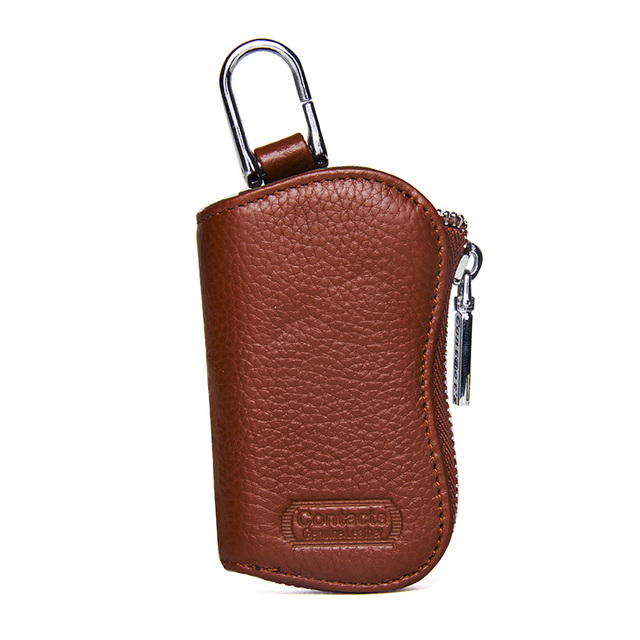 CONTACT'S Cow Leather Keys Wallets For Men Mini Key Holder Women Fashion Key Purse Small Housekeeper Card Key Holders Keychain 3