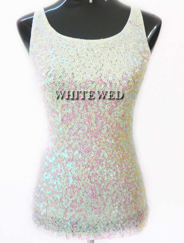 545ddb92 ... Sparkly Glitter Sequin embellished knitted slim scoop tank top for  Women dance silver purple black blue ...