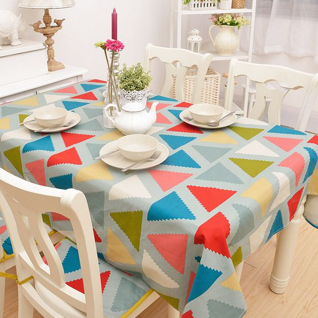 Geometric Cotton Table Cloth Colorful Print Nappe Tablecloth Coffee Party  Wedding Ethnic Table Cover Toalha De