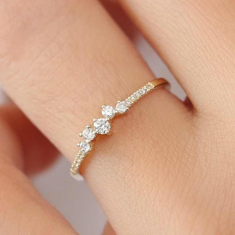 Austria Crystal Rings Gold Color Finger Bow Ring Wedding Engagement Zircon Crystal Rings Women Jewelry Freeshipping