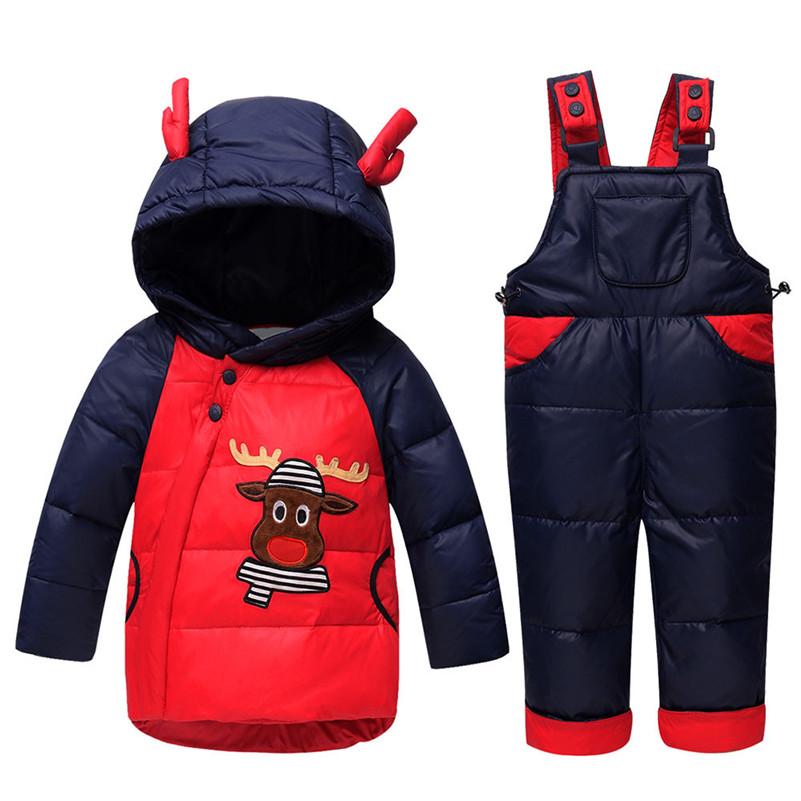 ad991e9e0 2Pcs cartoon baby Children boys girls winter warm down jacket suit ...