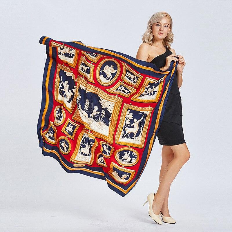 Nouveau Automne Luxe Marque 100% Foulard En Soie sergé Femmes Bohême Royal  Riden Chevalier H 263f4eb5e19