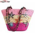 Estrellado vogue star 2017 nueva llegada del verano bolsa de paja de las mujeres tejidas bolso de la señora bolsa de patrón de hombro bolsa de playa starfish yk40-939