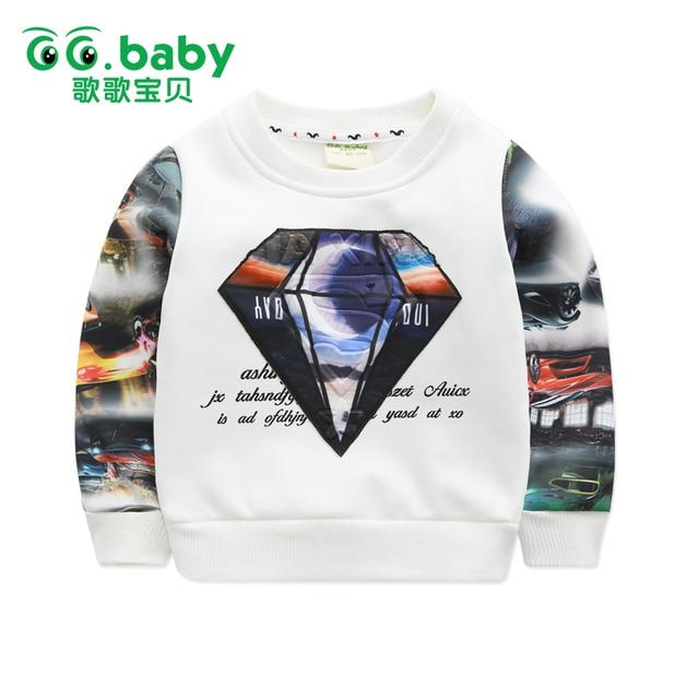Winter Fleece Kids T-shirt Boy White Girl Boys Long Sleeve Shirt Girls Top Black Children T shirts Cars Camiseta Infantil Tops
