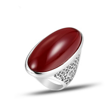 Newest Design Exaggeration Red Resin Stone Rings for Women Hollow Out Metal Silver Plated Vintage Rings Fashion Jewelry J02842 a suit of vintage alloy hollow out cuff rings for women