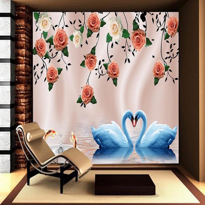 Custom Photo Wallpaper for Walls 3D Stereoscopic Wallpaper Living Room Bedroom Flowers Swan TV Wall Murals Modern Wallpaper Roll