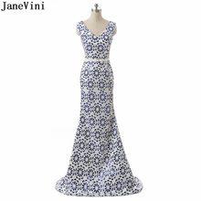 b26e5fcd55d9e JaneVini Zarif Beyaz Anne Gelin Elbise V Boyun Payetli Çiçek Desen Dantel-up  Geri Mermaid Sweep Tren abiye giyim