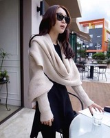 VOHIO woman knitted scarf red black scarf men with sleeves autumn winter super long oversize shawl Warm fashion Free shipping