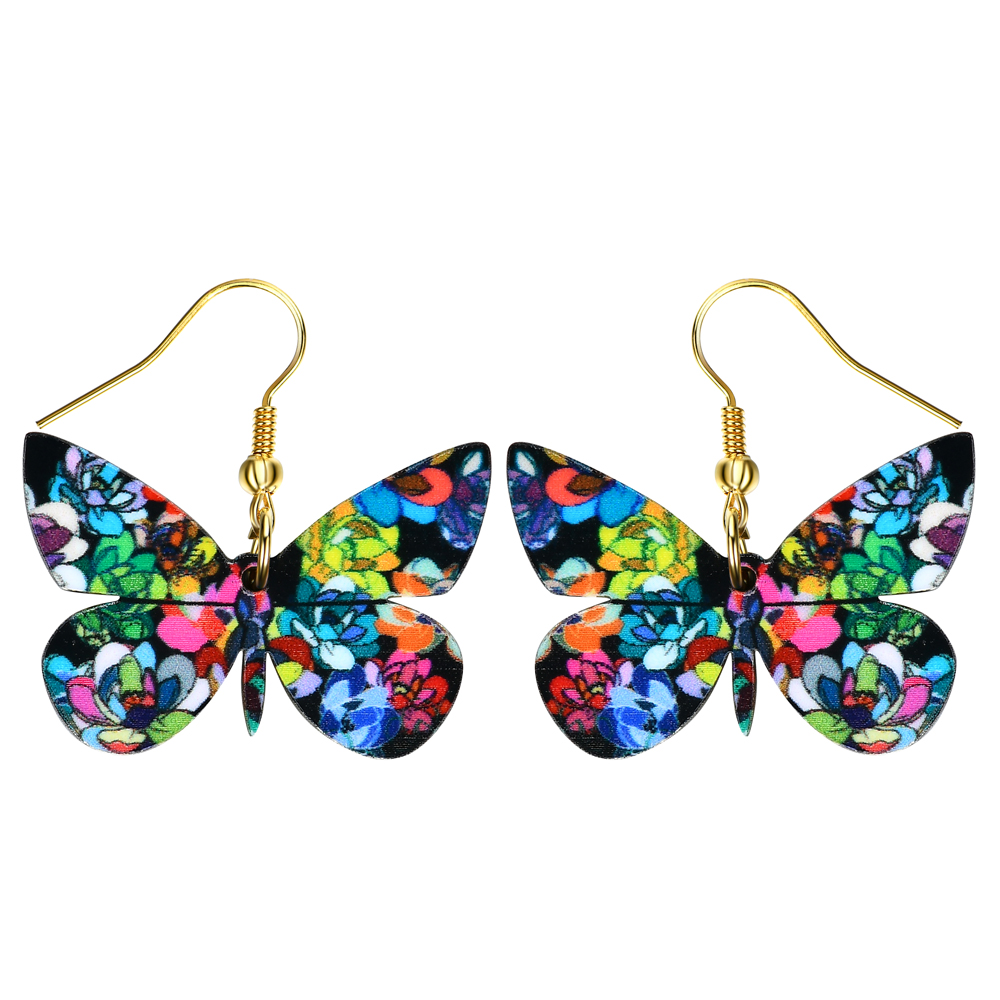 Drop Flower Butterfly Earrings Acrylic Long Big Dangle Earrings <font><b>News</b></font> Summer Girls Women Jewelry Accessories Fashion Styles image