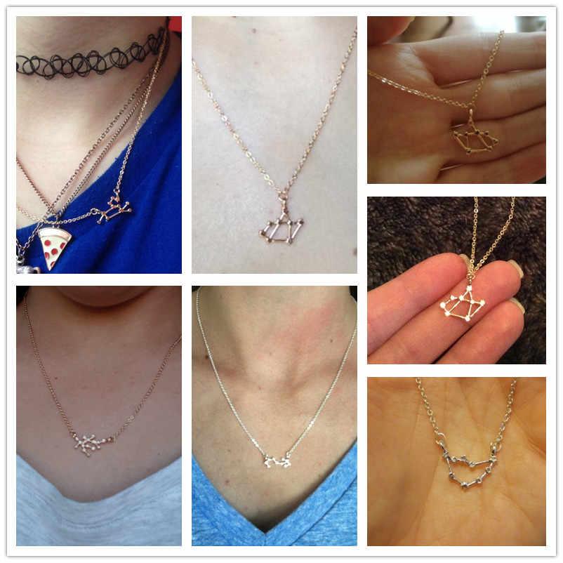 Astrologia ze stali nierdzewnej naszyjnik z zodiakiem kobiety 12 horoskop konstelacji złoto srebro para naszyjniki mężczyzn biżuteria dziewczyny prezent