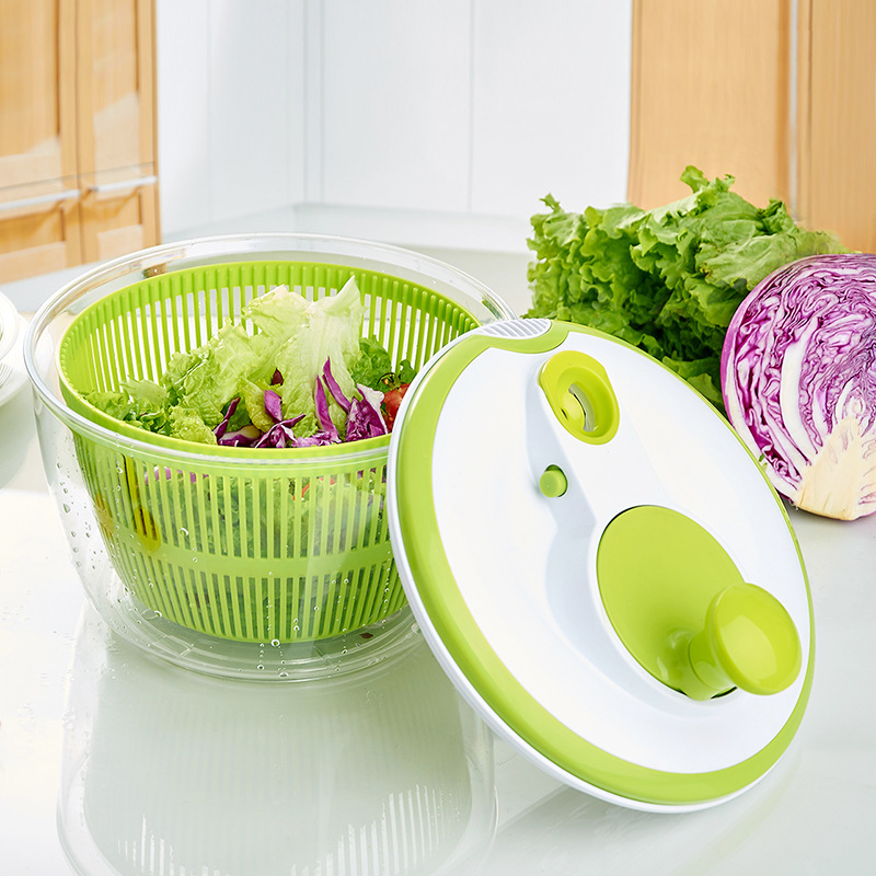 Salad Spinner Vegetable Washer with Bowl, Lockable Colander Basket Washer and Dryer Water Drain System and Compact Storage