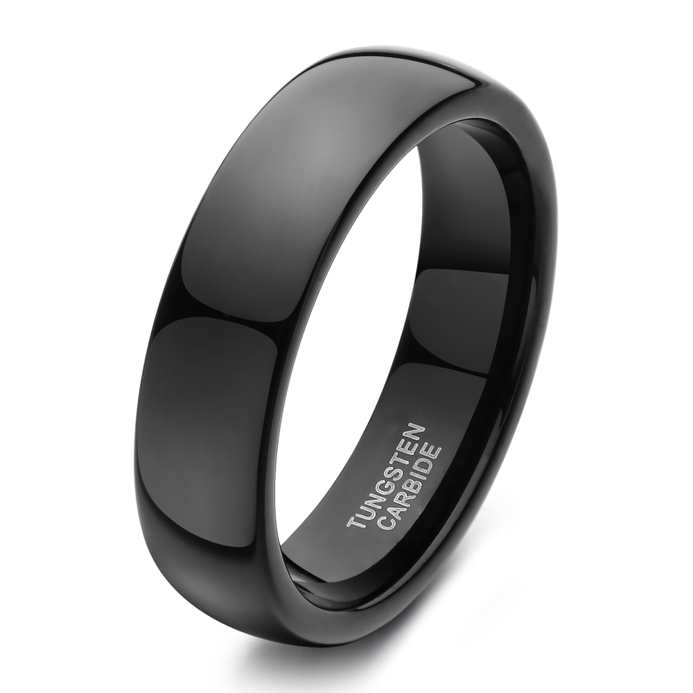 tigrade 6mm black men's high polished tungsten carbide wedding