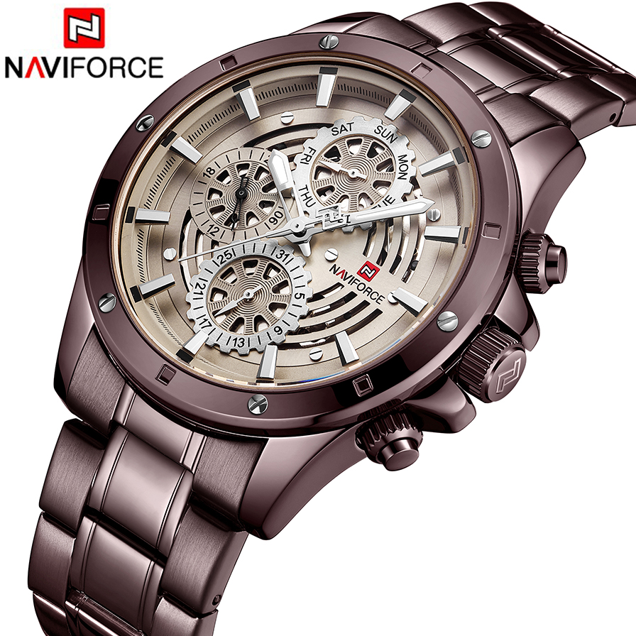 Reloje NAVIFORCE Men Watch Male Steel Automatic date Quartz Watches Mens Luxury Brand Waterproof Sport Clock Relogio Masculino