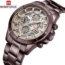 Reloje NAVIFORCE גברים שעון זכר פלדה אוטומטי תאריך קוורץ שעונים Mens יוקרה מותג עמיד למים ספורט שעון Relogio Masculino