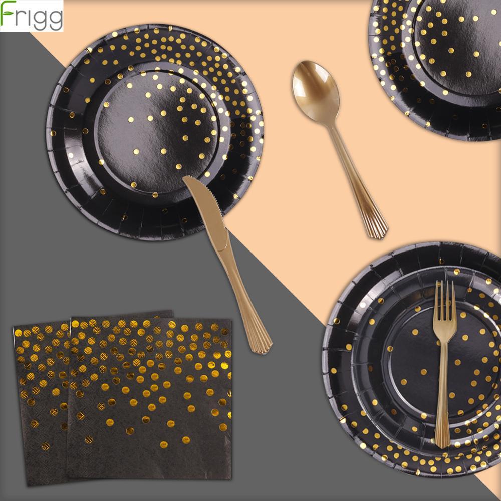 168 шт Свадебные черные золотые розовые одноразовые столовые приборы одноразовая салфетка для чашек бумажная тарелка ложка для дня рождения
