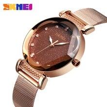 Skmei moda luxo senhoras relógio de cristal à prova drose água rosa ouro malha aço quartzo relógios femininos marca superior relogio feminino