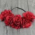 Mulheres noiva Flor Rosa coroa Headband Festival Da Flor Do Casamento Garland grinalda da flor Hairband Elástico Acessórios para o Cabelo Cocar