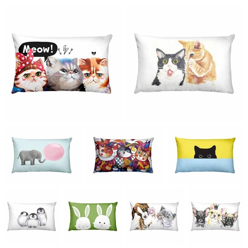 Cartoon Small Animal Printed Pillowcase Puppy Cat Waist Pillow Cushion Decorative Pillows Almofadas Decorativas Para Sofa 50*30
