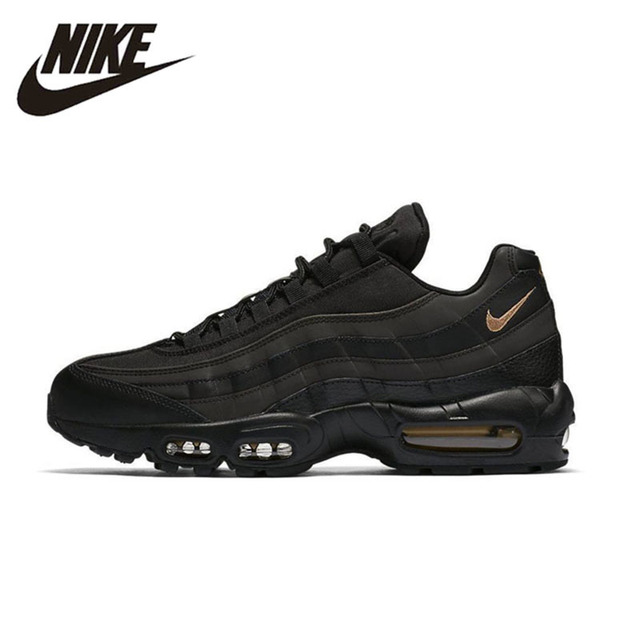 size 40 699a7 1ac32 NIKE AIR MAX95 PREMIUM SE Original Black Gold Mens Running Shoes Breathable  Massage Sneakers For Men Shoes  924478-003