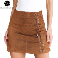 Lily Rosie Girl Khaki Lace Up Suede Leather Skirts Sexy Short Mini Skirt Autumn Winter 2017