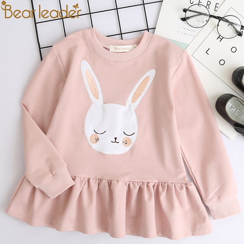 Bear Leader Girls Dress 2018 New Autumn Casual Style Children Clothes Long Sleeve White Rabbit Patch Design For Girls Clothes bear leader girls dress 2017new brand print princess dress autumn style petal sleeve flowers print design for children clothes