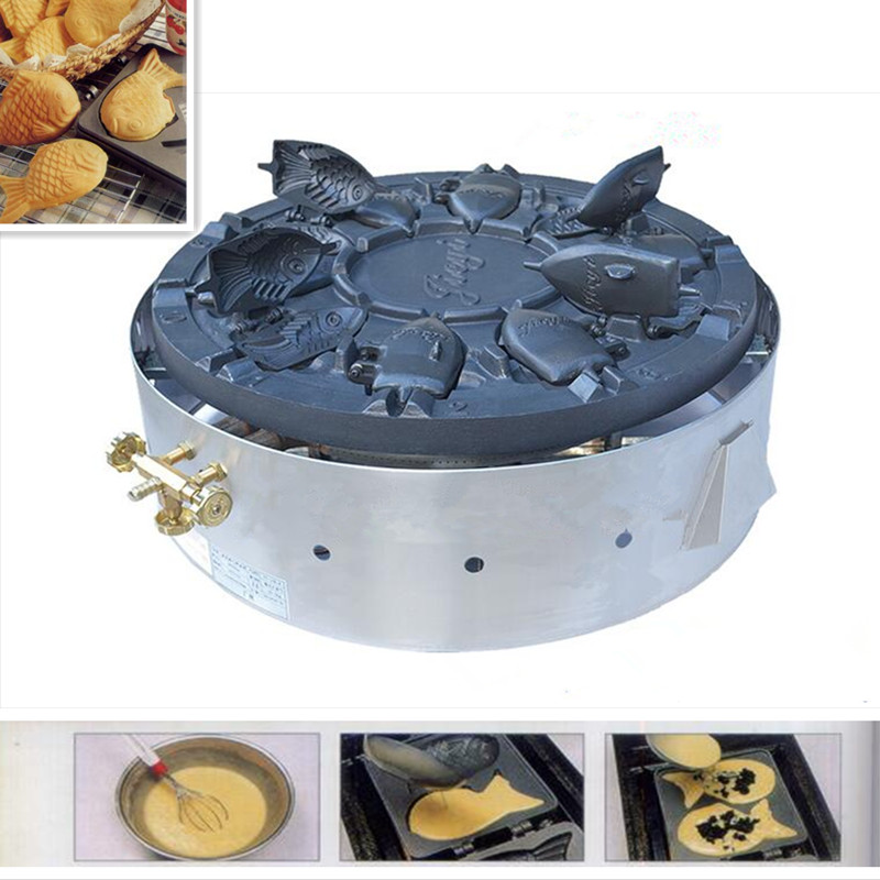Commercial Korean Gas Rotary Grilled 10pcs Fish Cake Non-stick Taiyaki Machine Fish Shaped Bread Baking Machine Baker Snack commercial use gas triangle wheat cake baker
