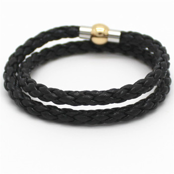 Fashion Jewelry Black Braided Leather Bracelet Men Stainless Steel Gold Bracelets Bangles De Couro Pulseiras Masculinos image