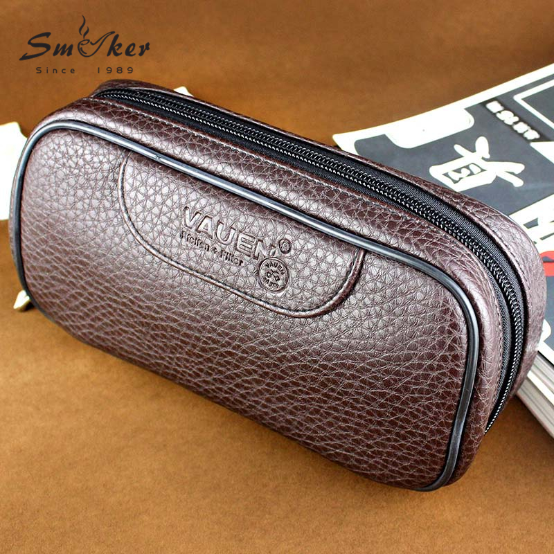 Smoker High Quality Durable Portable 2 Seats Pipe Case Tobacs