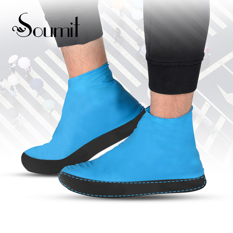 Soumit Waterproof Shoe Cover for Men Women Shoes Elasticity Latex Rain Covers Easy Carry Overshoes Tear Resistant Boot Protector casual waterproof boot silicone shoes cover w reflective tape for men black eur size 44 pair