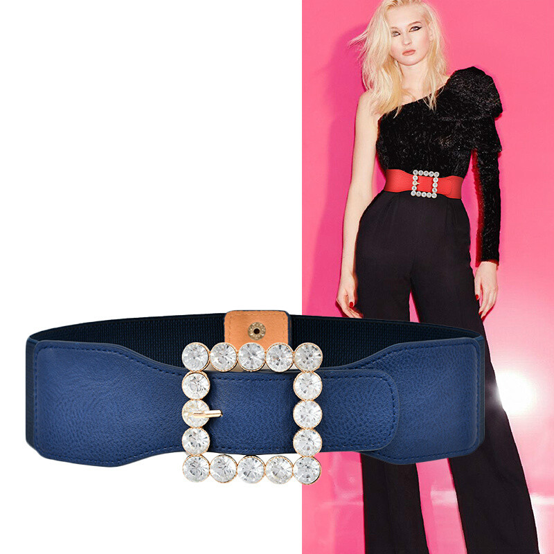 Ladies Elegant Crystal Decoration Wide Belt For Women Seals Elastic PU Leather Solid Colour Dresses Fashion Cummerbunds