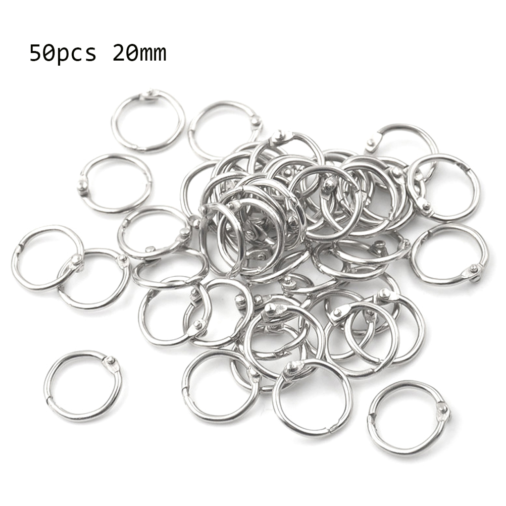 50Pcs Staple Book Binder 20mm Outer Diameter Loose Leaf Ring Keychain Circlip Ring