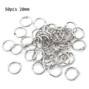 50 Pcs Staple Book Binder 20mm Outer Diameter Loose Leaf Ring Keychain Circlip Ring